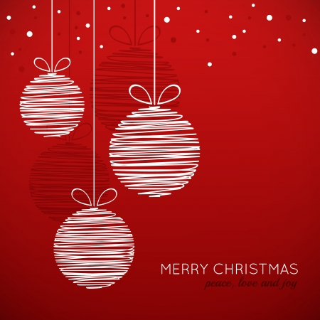 Doodle Christmas baubles on red background Vectores