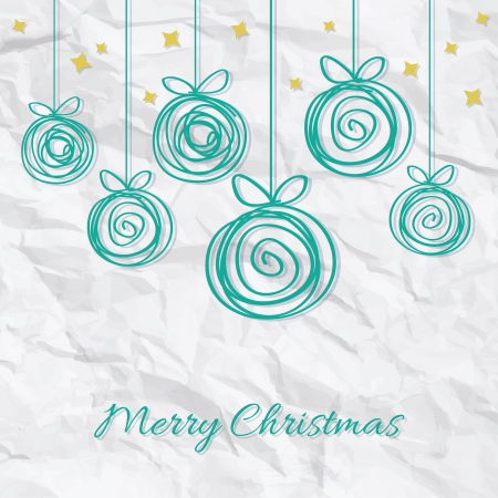 Doodle Christmas baubles on white paper background Vector