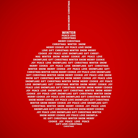 Christmas bauble with christmas words collage Vector