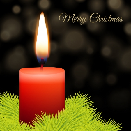 advent candles: Candle and fir with abstract lights background Illustration