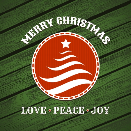 Christmas label with christmas tree on green wood background Vector