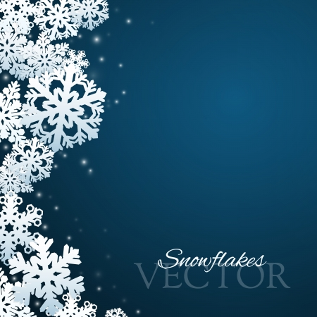 christmas decorations: Snowflakes background with abstract falling snow