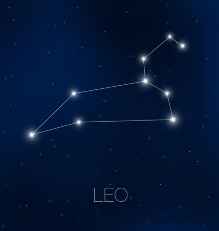 Leo constellation in night sky Vectores