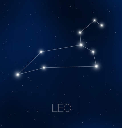 Leo constellation in night sky 矢量图像