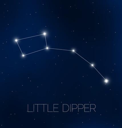 Little Dipper constellation in night sky Vector