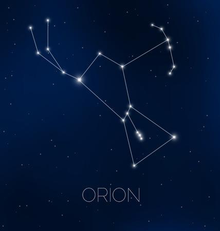 constelaciones: La constelación de Orión en el cielo nocturno Vectores