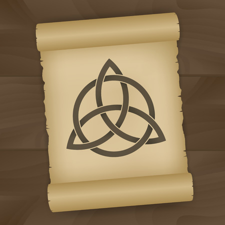 Triquetra symbol painted on papyrus, on brown table Illustration