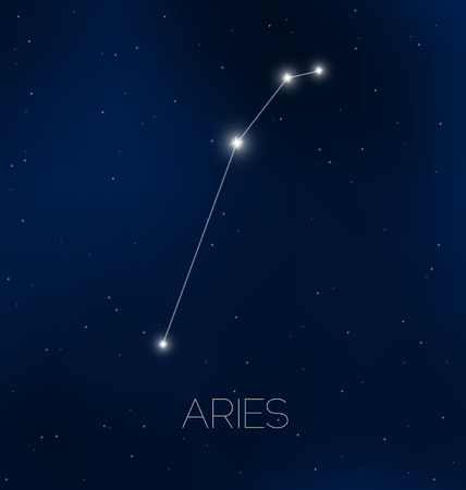 astrophotography: Aries constellation in night sky Illustration