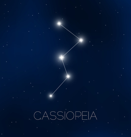 constelaciones: Cielo constelación de Casiopea en la noche