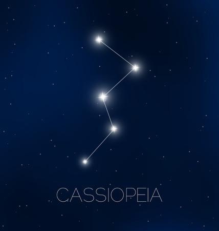 costellazioni: Costellazione di Cassiopeia in cielo notturno Vettoriali