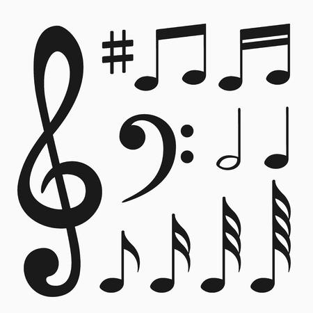 crotchets: Music notes set Illustration