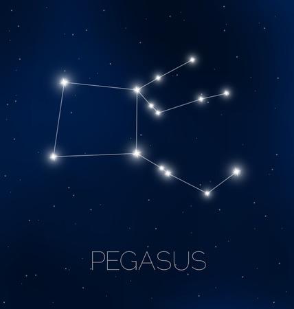 Pegasus constellation in night sky Vectores