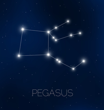 Pegasus constellation in night sky Illustration