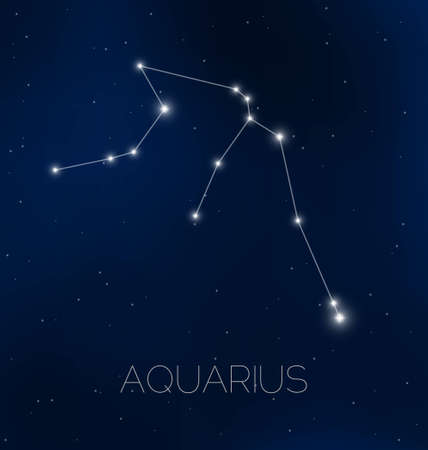 constelaciones: Acuario de la constelación en el cielo nocturno