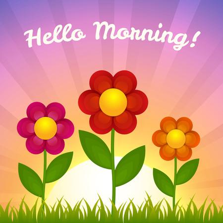 field flowers: Flowers on field - Morning theme
