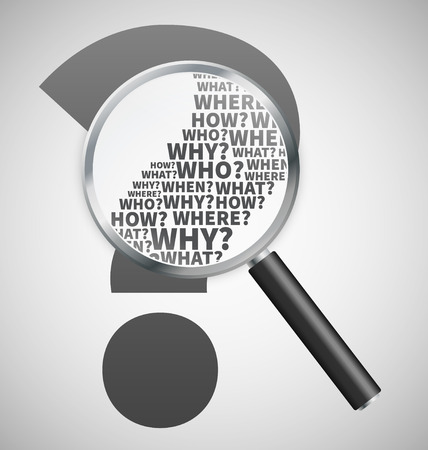 Question mark under review with magnifying glass