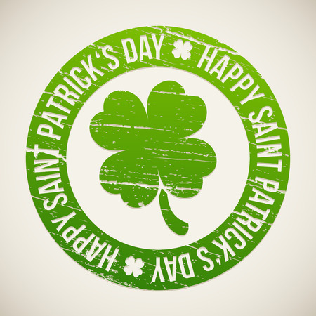 Saint Patricks Day design - Four-leaf clover stamp Vector