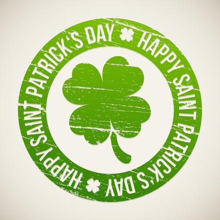 Saint Patricks Day design - Four-leaf clover stamp Vector