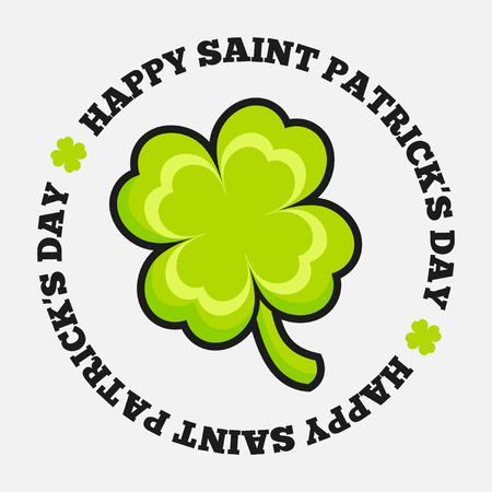 Saint Patricks day design - Four-leaf clover emblem Vector