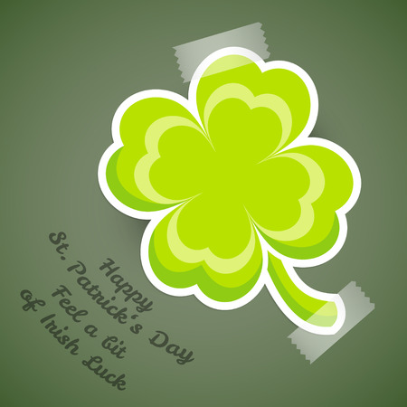 adhesive tape: Saint Patricks day design - Four-leaf clover with adhesive tape Illustration