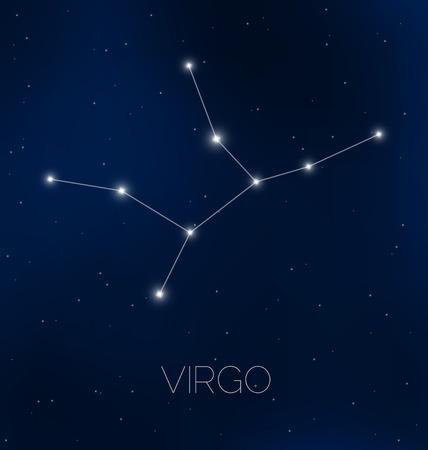 Virgo constellation in night sky Vector