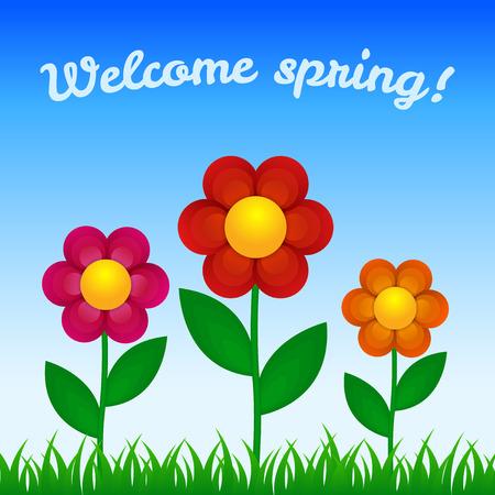 field flowers: Flowers on field - Spring design Illustration