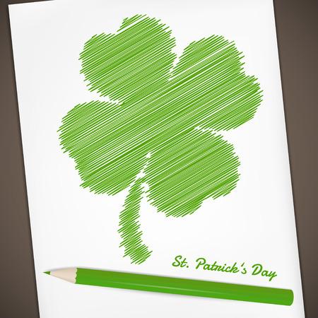 clover backdrop: Saint Patricks Day design - Four-leaf clover doodle