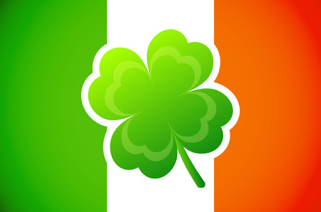 Irish flag with Four-leaf clover  矢量图像