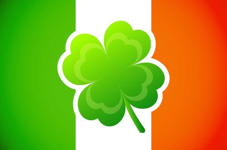 clover backdrop: Irish flag with Four-leaf clover  Illustration