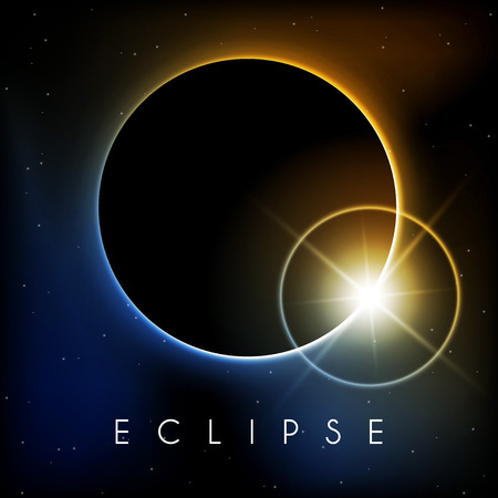 Beautiful Eclipse with lens flare Vector