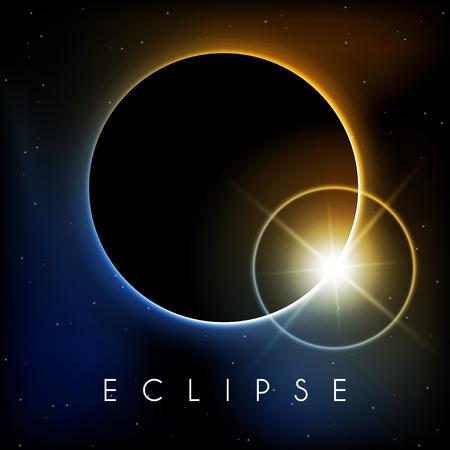 Mooie Eclipse met lens flare Stock Illustratie