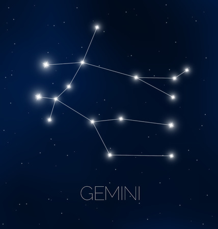Gemini constellation in night sky
