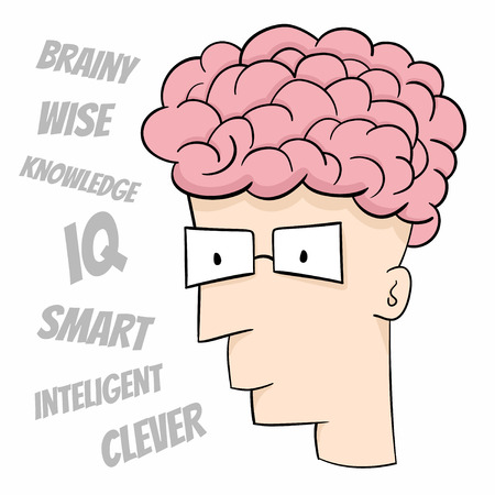 Cartoon head of smart guy
