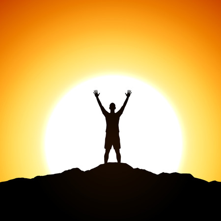 Men is standing on top of the cliff. Success theme Vectores