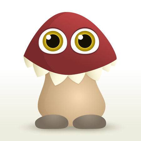 Mushroom monster with big eyes and teethes Vector