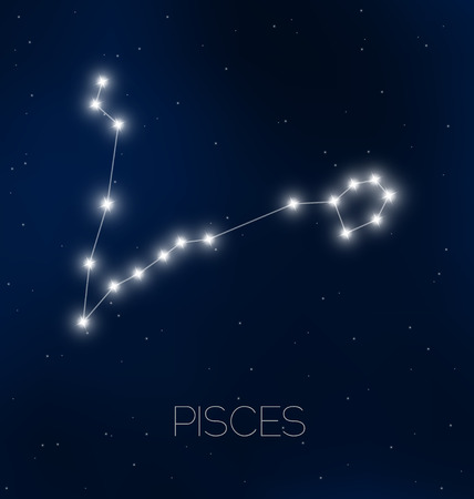 Pisces constellation in night sky