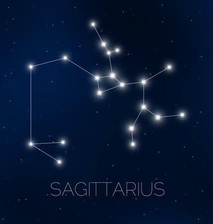 Sagittarius constellation in night sky Illustration