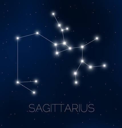 Sagittarius constellation in night sky Illustration