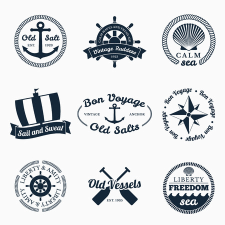 Nautical labels set.  Vector