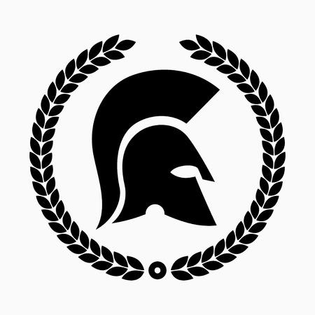 Spartan helm met lauwerkrans Stock Illustratie