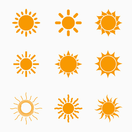 sunlight: Orange Sun symbols set Illustration