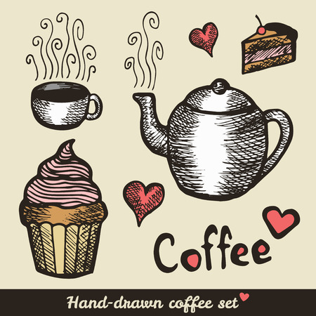 Hand drawn coffee and cakes - vintage