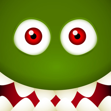 Green Monster face with red eyes and mouth full of teeth Vector