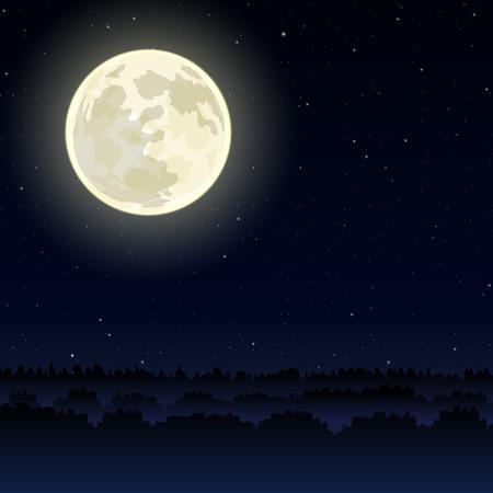 Nacht landschap met volle maan op sky
