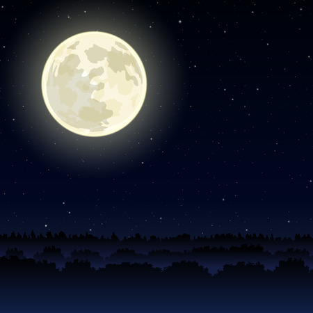 Night landscape with full moon on sky Vector