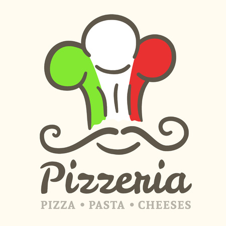 Pizzeria icon with colors of Italy flag Vector