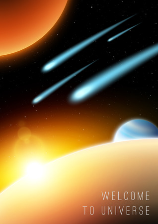 Meteor shower in galaxy with planets Vector