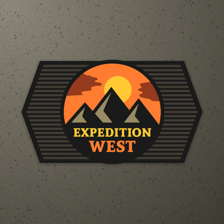 Expedition badge on brown textured background Vector