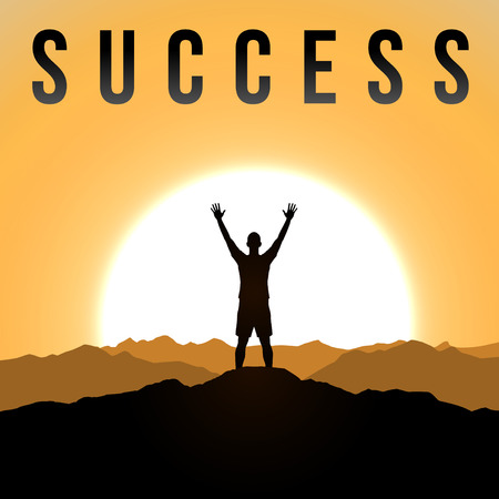 praise and worship: Men is standing on top of the cliff. Success theme Illustration