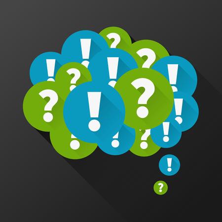 signo de admiracion: Preguntas y respuestas como la burbuja de pensamiento